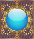 Round background frame with gold ornamentation illustration of the Royalty Free Stock Photos