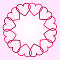 Round background hearts pink red Royalty Free Stock Photography