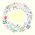 Round background for text with decorative images of flowers, plants, leaves and small circles.