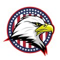 Round badge with American eagle. Royalty Free Stock Photo