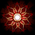 Round banner with abstract flower Royalty Free Stock Photo