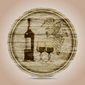 Round banner bottle of red wine glasses and grapes on a wooden background hand drawn Stock Photo