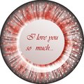 Round banner or button or greeting card with fabric and star Royalty Free Stock Photo