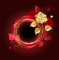 Round banner with gold rose and red on red background Royalty Free Stock Image