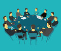 Round big table talks brainstorm. Team business people meeting conference many people. Blue background stock