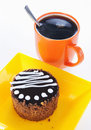 Round biscuit cake with cup of coffee Royalty Free Stock Photo