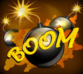 Round black bomb with burning cord background vector illustration Royalty Free Stock Photography
