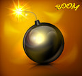 Round black bomb with burning cord vector illustration Royalty Free Stock Images