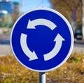 Round blue circle roundabout arrow clockwise Royalty Free Stock Photo