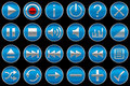 Round blue Control panel icons or buttons Stock Photos