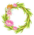 A round border design with a fairy illustration of on white background Stock Photos