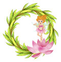 A round border design with a fairy in a pink dress illustration of on white background Royalty Free Stock Photography
