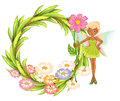 A round border with a fairy holding a flower illustration of on white background Stock Photography
