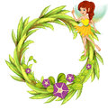 A round border with a fairy in a yellow dress illustration of on white background Stock Image