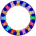 Round border out of colorful teddies Stock Image