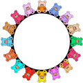 Round border out of colorful teddies Royalty Free Stock Photos
