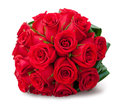Round bouquet of red roses over white background Royalty Free Stock Images