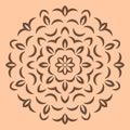 Round brown flower pattern on beige background