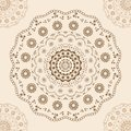 Round brown lace at center and corners on beige pattern vector illustration Royalty Free Stock Photo