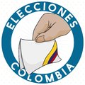 Round Button with Electoral Card in Colombia, Vector Illustration