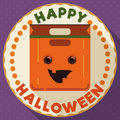 Round Button with Happy Halloween Pumpkin Bag, Vector Illustration Royalty Free Stock Photo