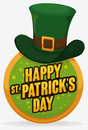 Round Button with Leprechaun`s Hat for St. Patrick`s Day Celebration, Vector Illustration