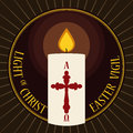 Round Button with Lighted Paschal Candle for Easter Vigil, Vector Illustration