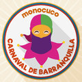 Round Button with Monocuco Design for Barranquilla`s Carnival Celebration, Vector Illustration