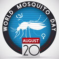 Round Button Scanning a Female Mosquito for World Mosquito Day, Vector Illustration