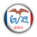 Round Button USA State Flag of Iowa Royalty Free Stock Image