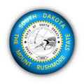 Round Button USA State Flag of South Dakota Stock Image