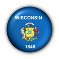 Round Button USA State Flag of Wisconsin Royalty Free Stock Photography