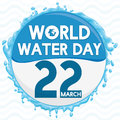 Round Button with Water in the Edges Commemorating Water Day, Vector Illustration