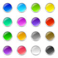 Round buttons set of d colored with metal frame and shadow Royalty Free Stock Photography