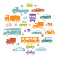 Title: Round Card with Retro Flat Cars and Vehicles Silhouette Icons Transport Symbols