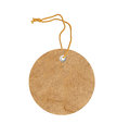 Round cardboard blank tag label with string isolated on white Royalty Free Stock Photo