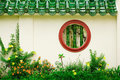 Round Chinese window Stock Photo