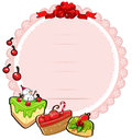 A round christmas card template with cakes illustration of on white background Royalty Free Stock Images