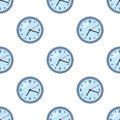 Round Clock Flat Icon Seamless Pattern