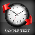 Round clock with ribbon on black wall red background text vector illustration Stock Photo