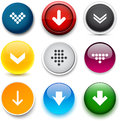 Round color download icons set of buttons for website or app vector eps Stock Photography