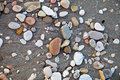 Round colored sea pebbles background of Stock Photo