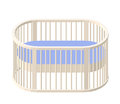 Round cot. Baby Crib. Modern nurse design. Vector illustration eps 10 isolated.