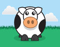 Round cow large cartoon standing in grass Royalty Free Stock Images