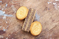 Round cracker with wafer biscuits Royalty Free Stock Photo
