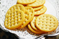 Round crackers saline served on a white decorative plate Royalty Free Stock Photography