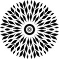 Round design only leaves, black and white, round design joint leaves..leaves like fish. like sperm in woman.