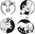 Round designs with bulls set of black and white vector illustrations Stock Photo