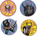 Round designs with bulls set of color vector illustrations Stock Photos