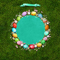 Round Easter frame with eggs